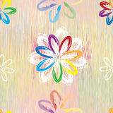 Seamless pattern with abstract rainbow flowers on colorful grunge striped background e Stock Photos