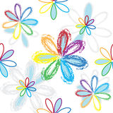 Seamless pattern with abstract rainbow flowers on white backdrop Stock Photo