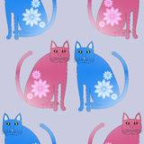Seamless pattern abstract red and blue cats with flowers. Seamless background. Abstract fantasy cats blue and pink violet with blossoms on them are sitting Stock Images