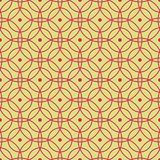 Seamless pattern of abstract red circles on a yellow-green background for fabrics, wallpapers, tablecloths, prints and designs. vector illustration
