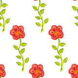 Seamless pattern with abstract red watercolor flowers on a green stems Royalty Free Stock Images