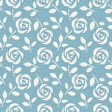 Seamless pattern with abstract roses on blue background. Vector illustration. Wallpaper with cute flowers royalty free illustration