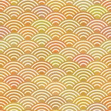 Seamless pattern abstract scales simple Nature background with japanese wave circle pattern pastel colors orange beige mustard bac. Kground. Textile print, web Stock Images