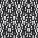 Seamless pattern abstract scales simple Nature seamless pattern with japanese wave circle pattern black and white background. Vect. Or illustration Stock Photos