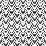 Seamless pattern abstract scales simple Nature seamless pattern with japanese wave circle pattern black and white background. Vect. Or illustration Stock Image