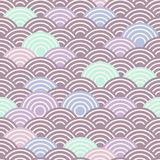 Seamless pattern abstract scales simple Spring Nature background with japanese wave circle pattern purple pink blue green brown pa. Stel colors light background Royalty Free Stock Image