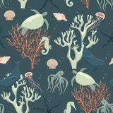 Seamless pattern abstract sea life Royalty Free Stock Image