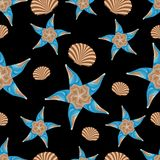 Seamless pattern of abstract sea stars and seashells vector illustration