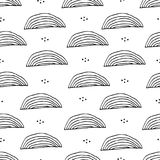Seamless pattern with abstract simple shapes and elements in scandinavian style. Vector design vector illustration