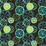 Seamless pattern with abstract slices of lime or other citrus fruits, vector illustration.  Royalty Free Stock Photo