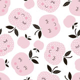 Seamless pattern with abstract  smiling apples. Wrapping paper, scrapbook paper, bedding pattern illustration. For kid girl design Royalty Free Stock Image