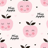 Seamless pattern with abstract  smiling apples Stock Photo