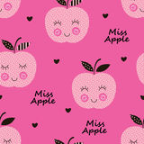 Seamless pattern with abstract  smiling apples Stock Photography