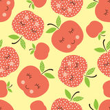 Seamless pattern with abstract  smiling apples Stock Photos