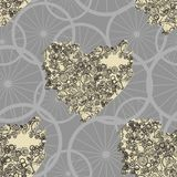 Seamless pattern with abstract steampunk hearts. Steampunk style. Royalty Free Stock Images