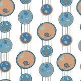 Seamless pattern in abstract style with butterflies, snails and dragonflies. In circle Royalty Free Stock Images