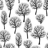 Seamless pattern with abstract stylized trees. Natural view of black silhouettes.  Stock Images