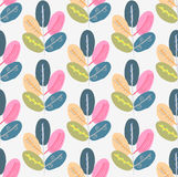 Seamless pattern with abstract trees. Colorful creative repeating background Stock Photos
