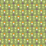 Seamless pattern with abstract trees and mushrooms Royalty Free Stock Image