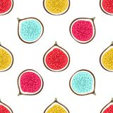 Seamless pattern with abstract varicoloured halves figs. Healthy dessert. Fruity repeating background. Hand drawn fruits. Wrapping, print on clothes, wallpaper stock illustration