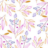 Seamless pattern with the abstract watercolor brown and purple leaves and branches and blue berries on a white background. Hand drawn in a pastel Royalty Free Stock Photos