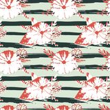 Seamless pattern with abstract watercolor flowers and leaves on stripes in grungy style.  vector illustration