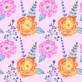 Seamless pattern with abstract watercolor roses, leaves and branches on pink background Stock Photos