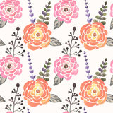 Seamless pattern with abstract watercolor roses, leaves and branches on white background Royalty Free Stock Photos
