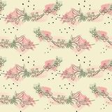 Seamless pattern with abstract watercolor stains, cherry blossom flowers  Stock Photo