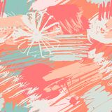 Seamless pattern with abstract watercolor stains, flowers, paint brushes freehand strokes royalty free illustration