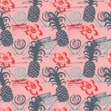 Seamless pattern with abstract watercolor stains, flowers, pineapples. Paint brushes freehand strokes stock illustration