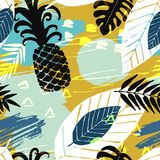 Seamless pattern with abstract watercolor stains, tropical leaves, pineapples. Paint brushes freehand strokes Royalty Free Stock Image