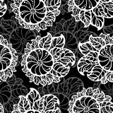 Seamless pattern of abstract white flowers on a black background. Vector illustration Stock Photo