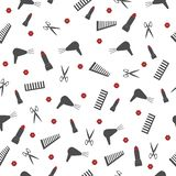 Seamless pattern with accessories for a beauty salon barber shop. With lipstick and lips a comb a hair dryer and scissors on a white background stock illustration