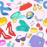 Seamless pattern of woman accessories Stock Images