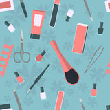 Seamless pattern with accessories and tools for manicure and pedicure Royalty Free Stock Images