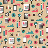 Seamless pattern with accountancy equipment. Royalty Free Stock Photography
