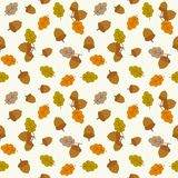 Seamless pattern acorn and leaves. For autumn and thanksgiving season, flat design stock illustration