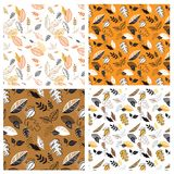 Seamless pattern with acorns and autumn leaves in Orange. Design for wallpaper, gift paper, pattern fills, web page. Background, autumn greeting cards. vector Stock Illustration