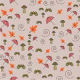 Seamless pattern with acorns and autumn leaves, umbrellas vector illustration