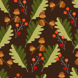 Seamless pattern with acorns and autumn oak leaves in orange, be. Ige, brown and yellow. Ideal for Wallpaper, gift paper, pattern fills, background of web pages vector illustration