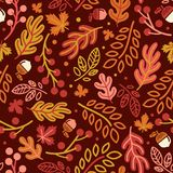 Seamless pattern with acorns and autumn oak leaves in Orange, Beige, Brown and Yellow. This design is suitable for package, t shirt, merchandise, and banner stock illustration