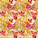 Seamless pattern with acorns and autumn oak leaves in Orange, Beige, Brown and Yellow. Perfect for wallpaper, gift paper. Pattern fills, web page background stock illustration