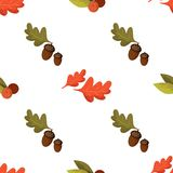 Seamless pattern with acorns, berries and autumn oak leaves on w. Hite background. Perfect for wrapping paper, wallpaper, autumn greeting cards, web pages royalty free illustration