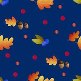 Seamless pattern with acorns, blueberries and autumn oak leaves. On blue background. Perfect for wrapping paper, wallpaper, autumn greeting cards, web pages stock illustration