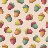 Seamless pattern with acorns. Seamless pattern with colorful acorns Seamless nature background in cartoon style Royalty Free Stock Images