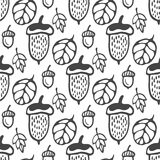 Seamless pattern with acorns and leaves. Hand drawn vector background for fabric, textile, wrapping Stock Image