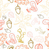 Seamless pattern with acorns, leaves and mushrooms Stock Photo