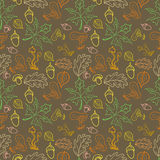 Seamless pattern with acorns, leaves and mushrooms Royalty Free Stock Photos