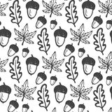 Seamless pattern with acorns and maple, oak leaves. Hand drawn vector background for fabric, textile, wrapping Royalty Free Stock Image